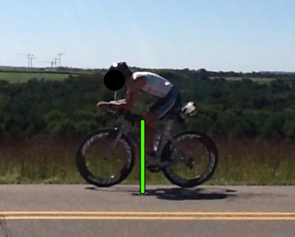 Same as above, slightly too far back on the plum line, causing a total body rotation backwards on the bike, vs a forward aero position.