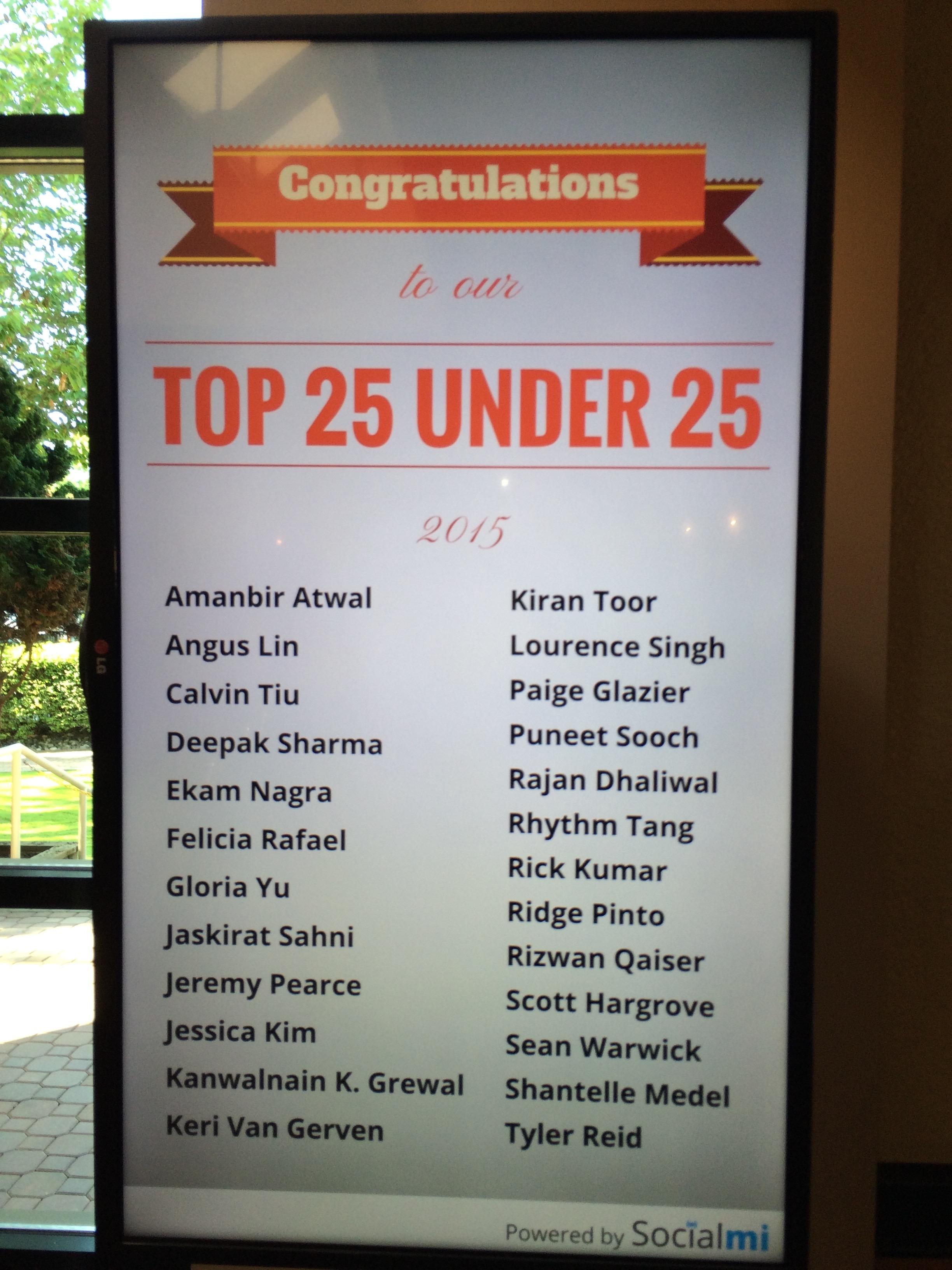 Surrey Board of Trade's Top 25 Under 25 2015