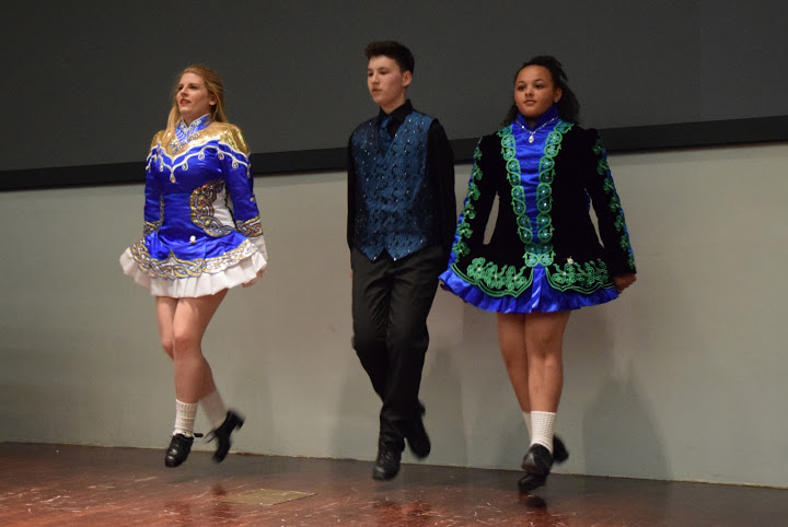 Greer, Brendan and Juliet from the Niall O'Leary School of Irish Dance.