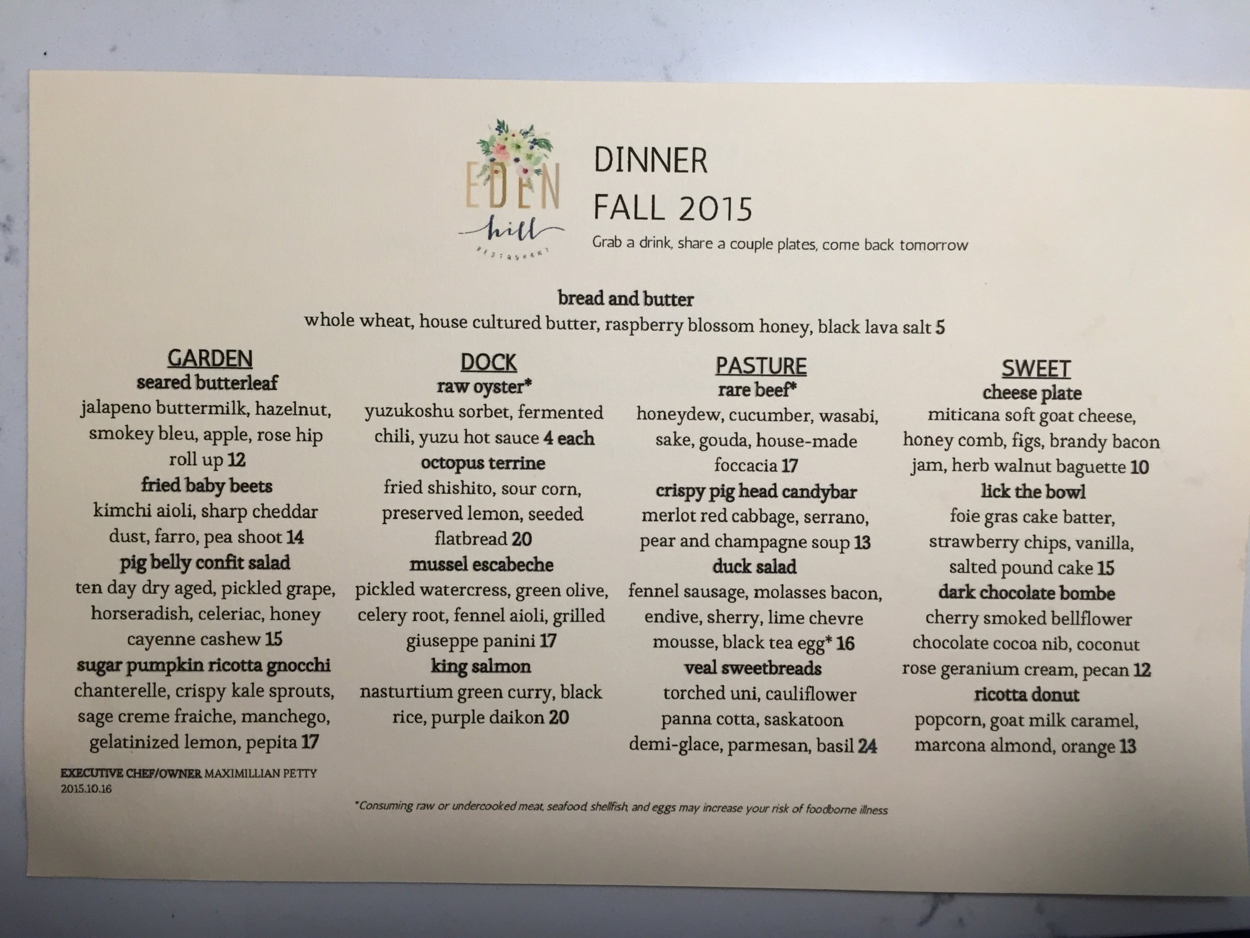 Last night's dinner menu