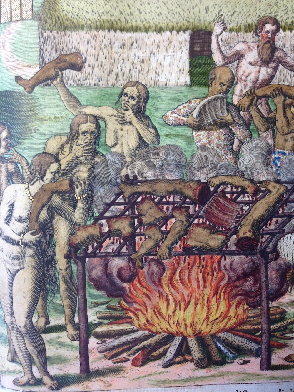 Theodor De Bry illustration from Hans Staden's accounts in  America Tertia Pars , 1590-1634