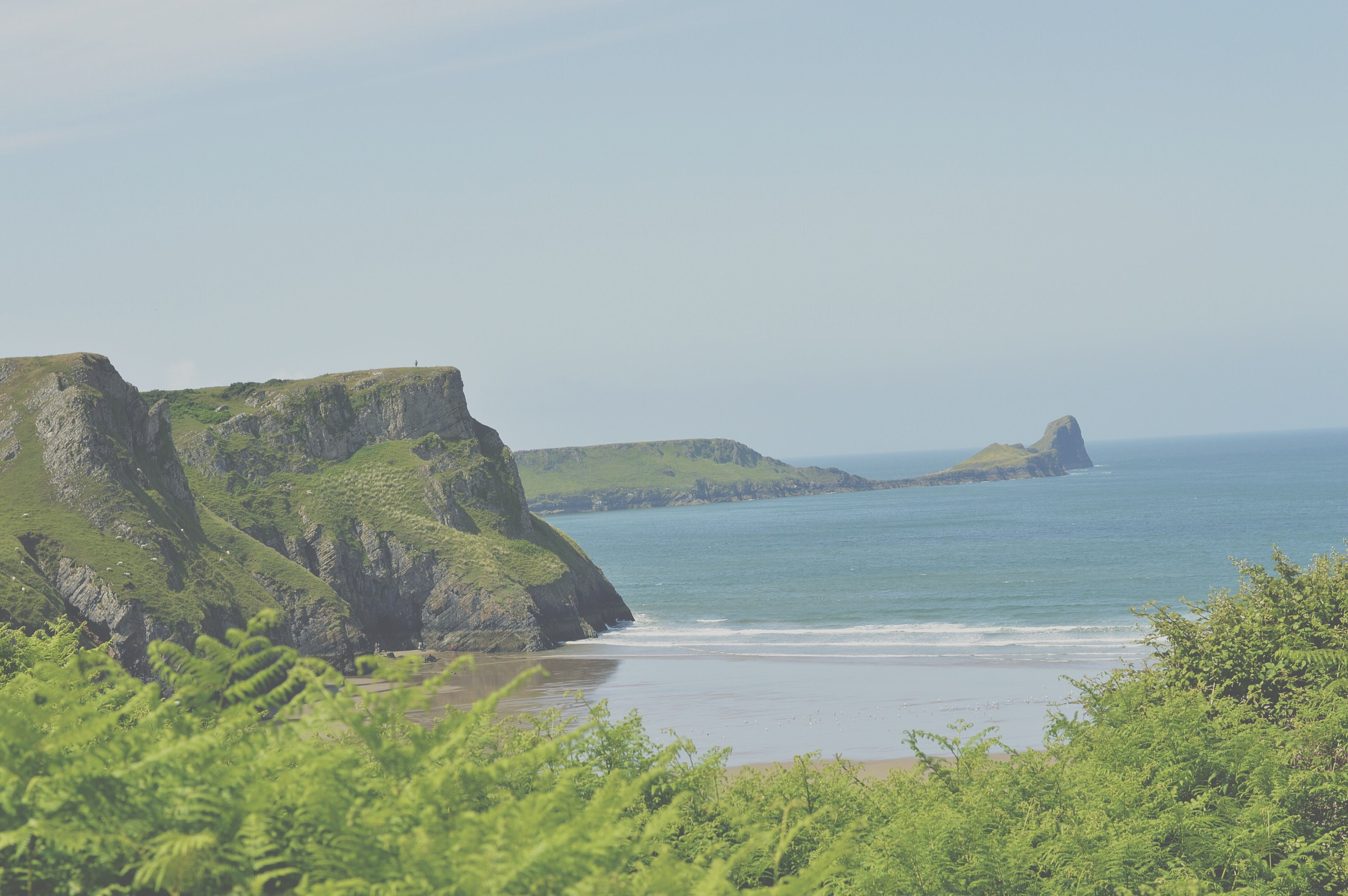 Looking back towards the cliff top and Worms head.
