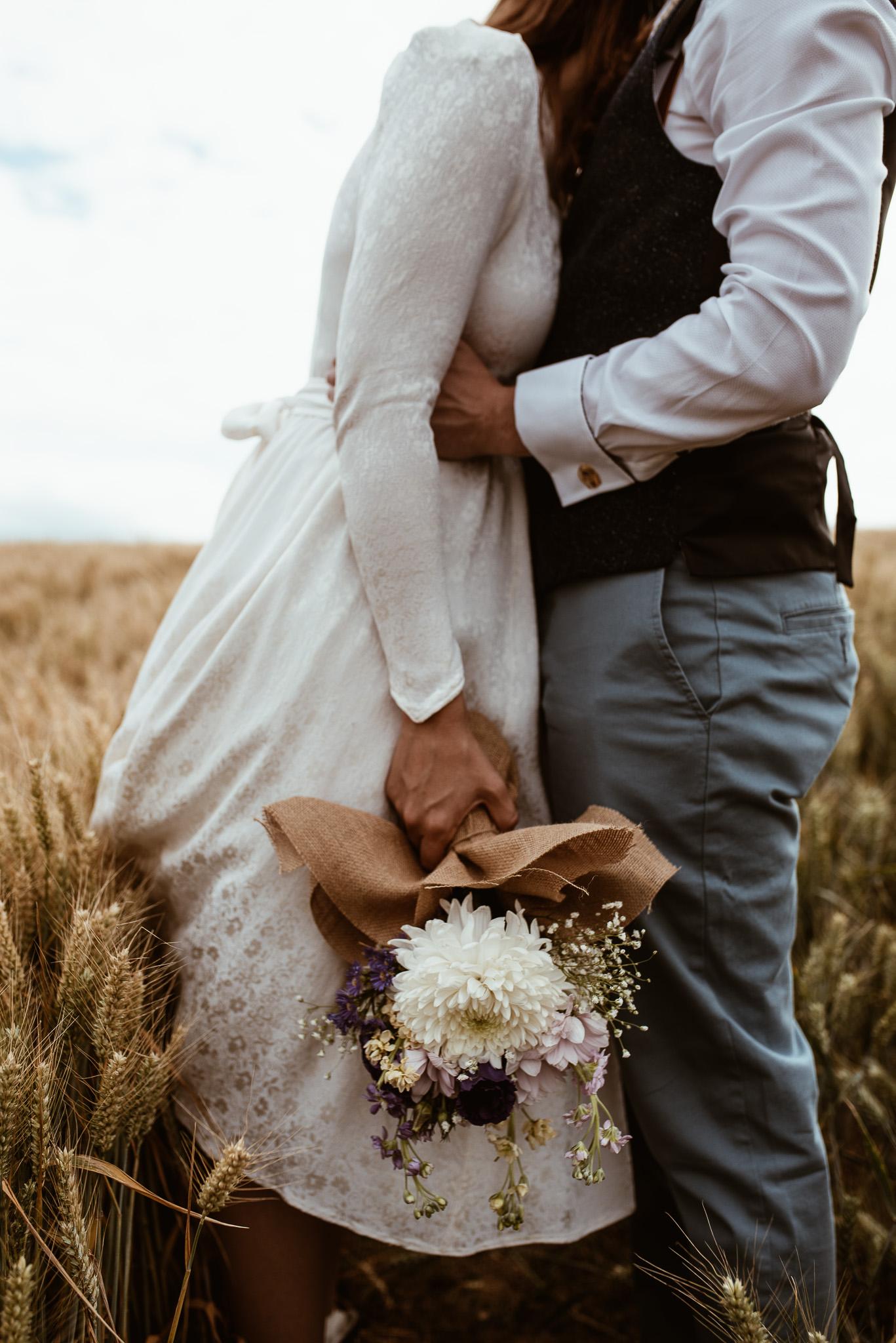 Wedding Photography. Faceless. Bouquet. Rosedew Farm, South Wales.
