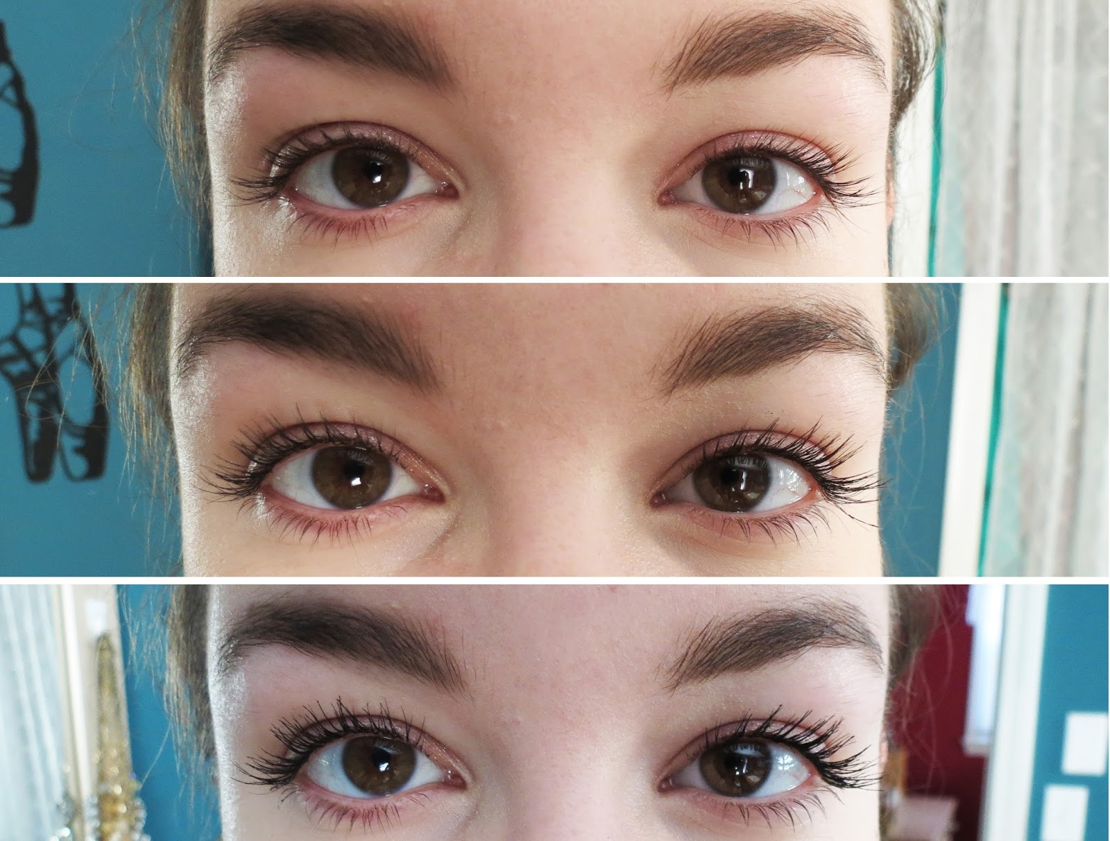 Top: No mascara, eyelashes curled. Middle: One coat of L'Oreal Miss Manga. Bottom: One coat Miss Manga + One coat Maybelline Lash Sensational.