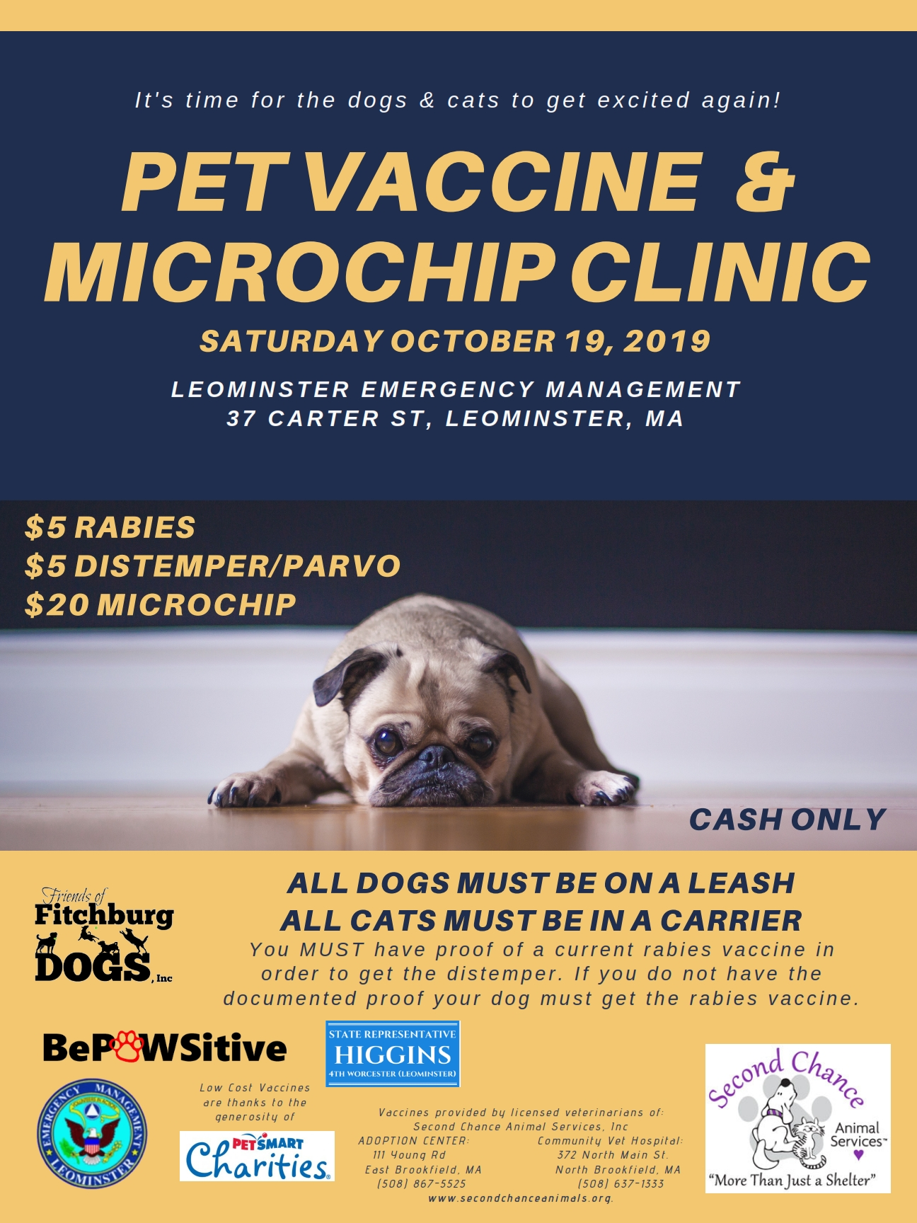 10-19-19 Vaccine & Microchip Clinic Leominster
