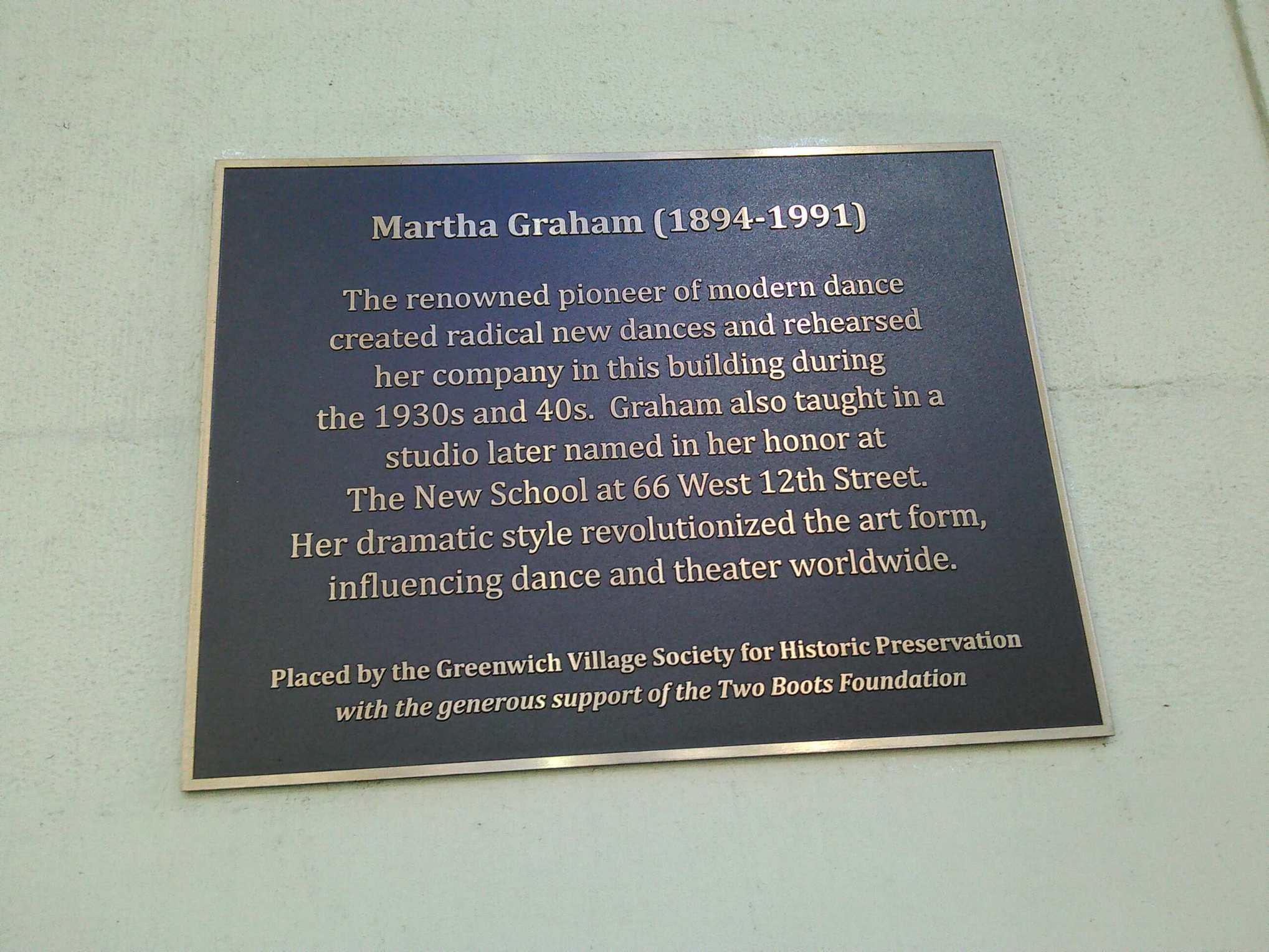 A plaque outside 66 Fifth Avenue, where Martha Graham established her dance company in 1926.