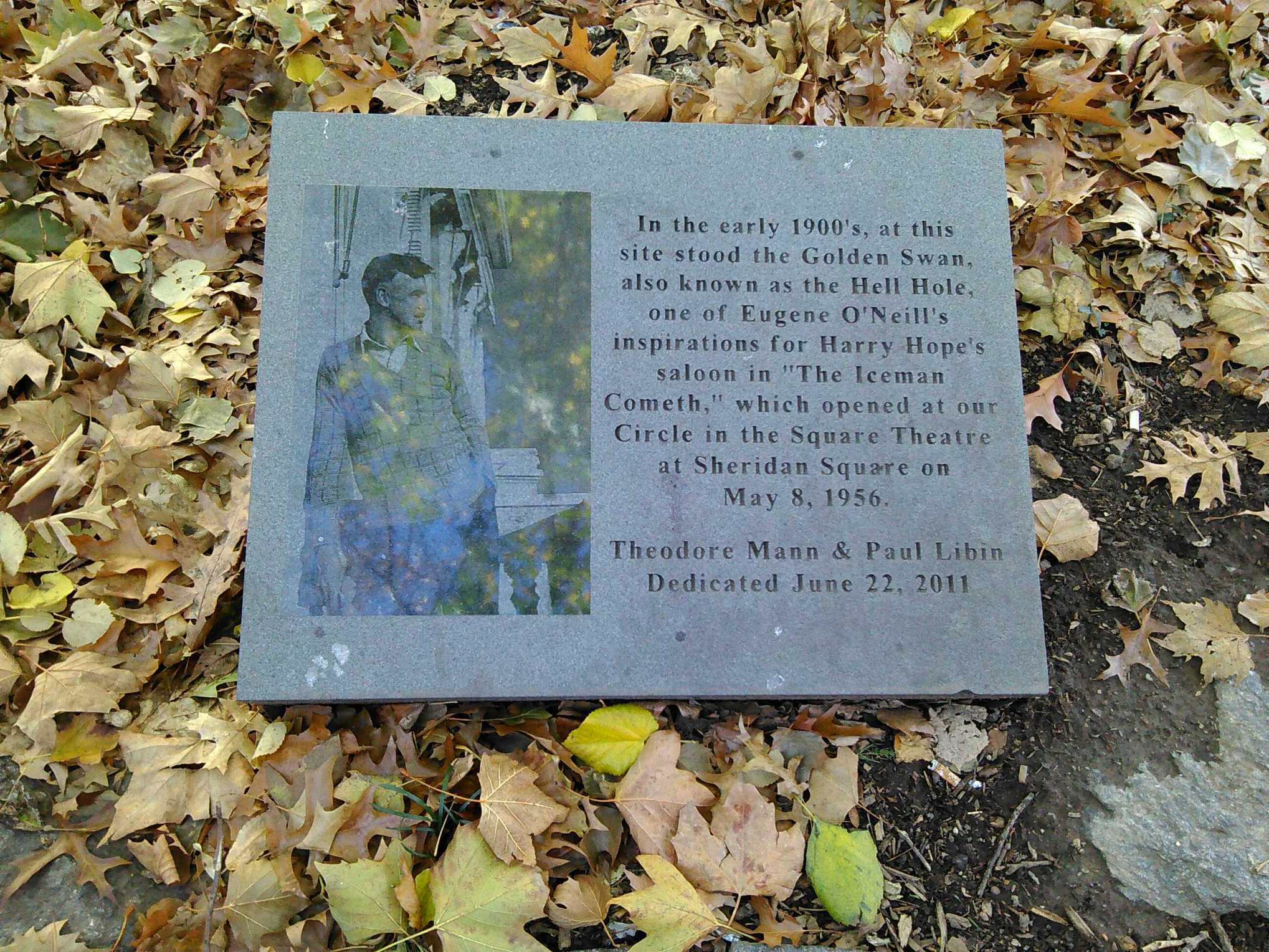 Plaque in Golden Swan Park at corner of West 4th St. and Avenue of the Americas. It is the same West 4th St. that Bob Dylan sings about and lived on.