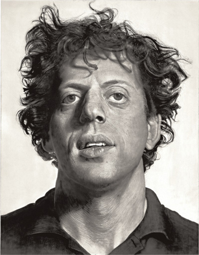 Chuck Close, Phil/Watercolor, 1977. The original is about 6 feet by 6 feet. Watercolor and acrylic on paper. © Chuck Close,via PaceWildenstein, New York. Photo by Ellen Labenski.