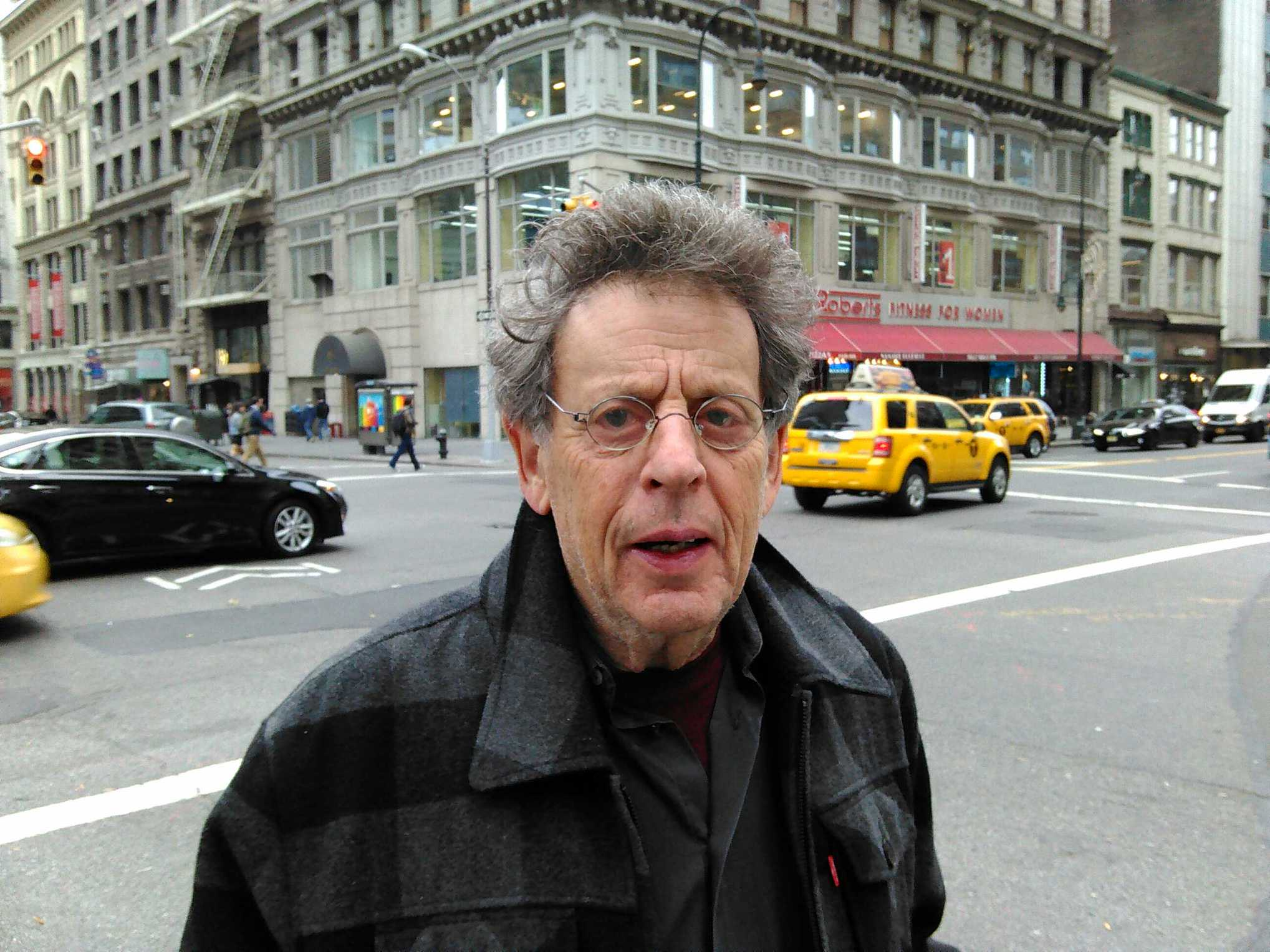 Philip Glass on 14th St., December 9, 2015.