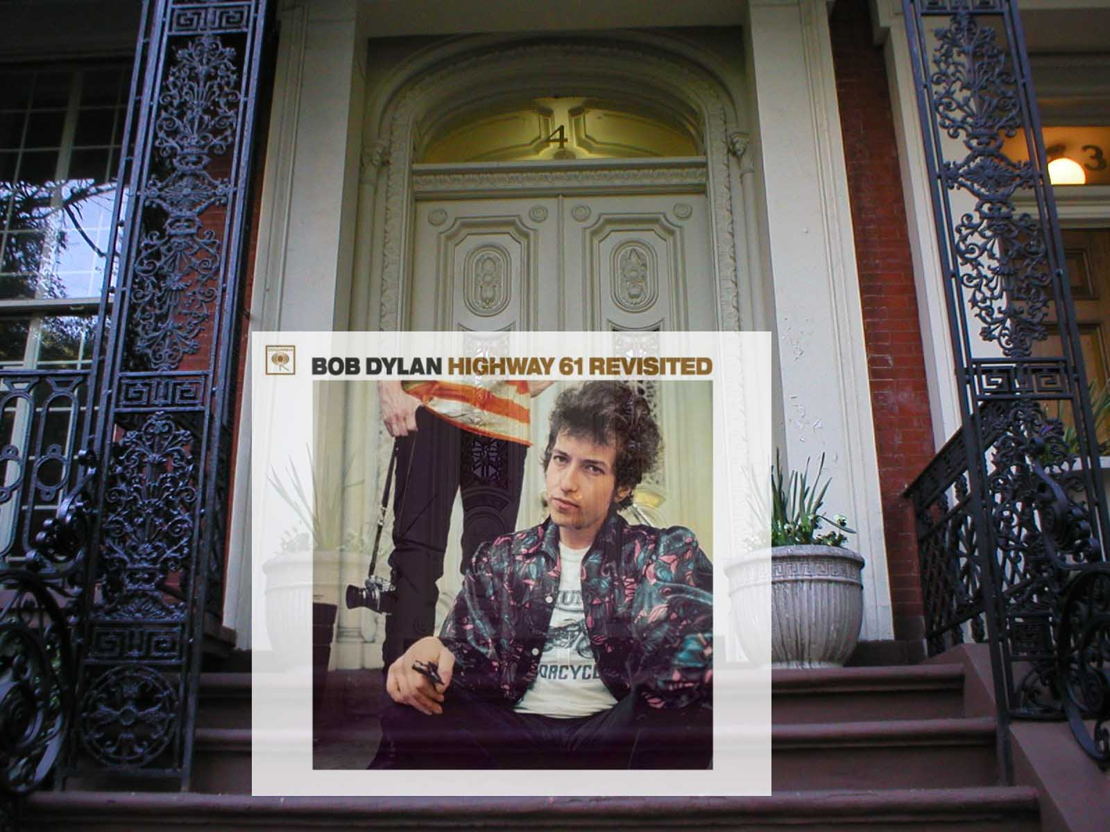 Album cover photo by Daniel Kramer. Taken in front of Albert Grossman's former residence at 4 Gramercy Park West. Overlay with album cover from PopSpotsNYC.com.