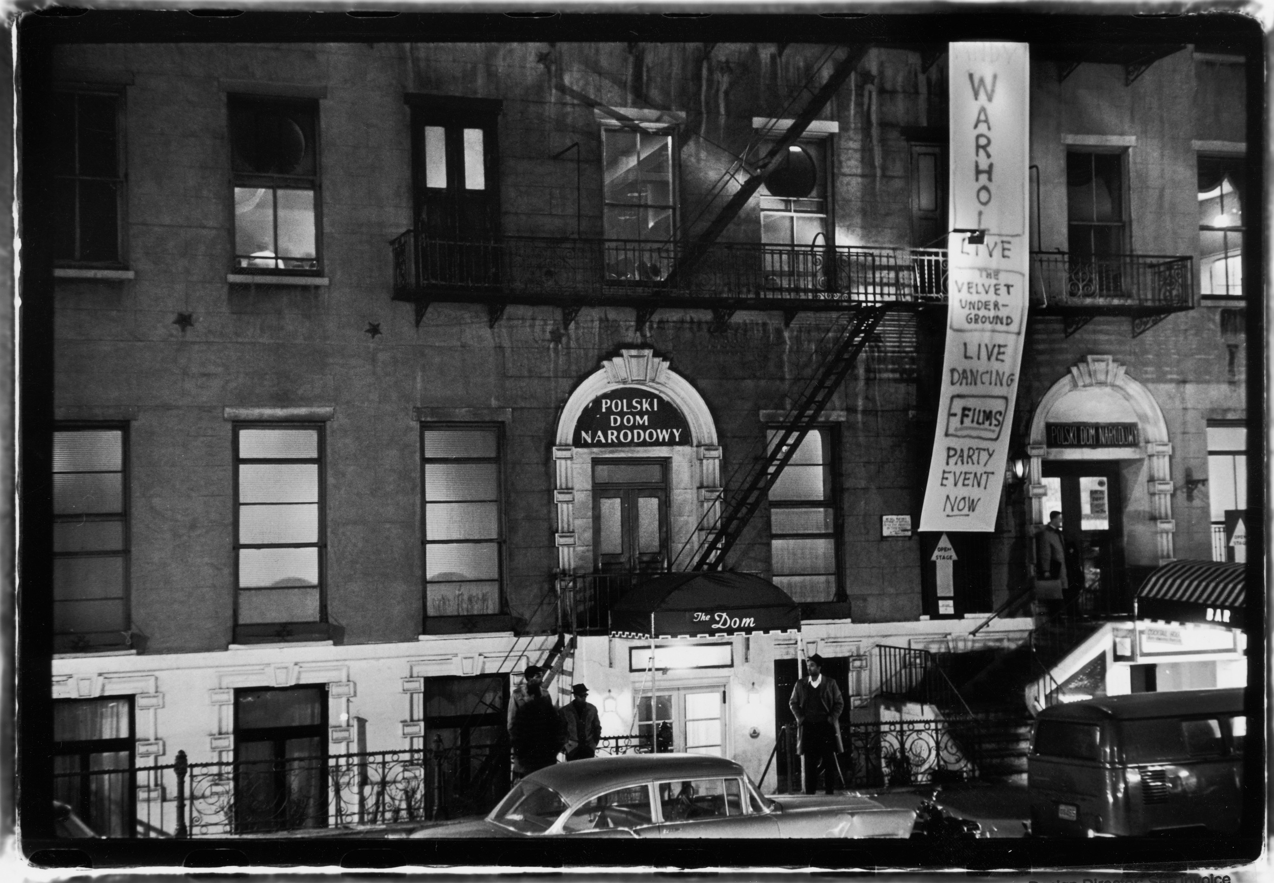 Above: Outside The Dom (from 'Polski Dom Narodowy' or 'Polish National Home', 23 St. Marks Place), where a banner advertises 'Warhol; Live; The Velvet Underground; Live Dancing; Films; Party Event Now,' part of Andy's Exploding Plastic Inevitable series of staged, multimedia events. March 31, 1966. Below: Same spot in February 2016. Photos copyright Estate of Fred W. McDarrah.