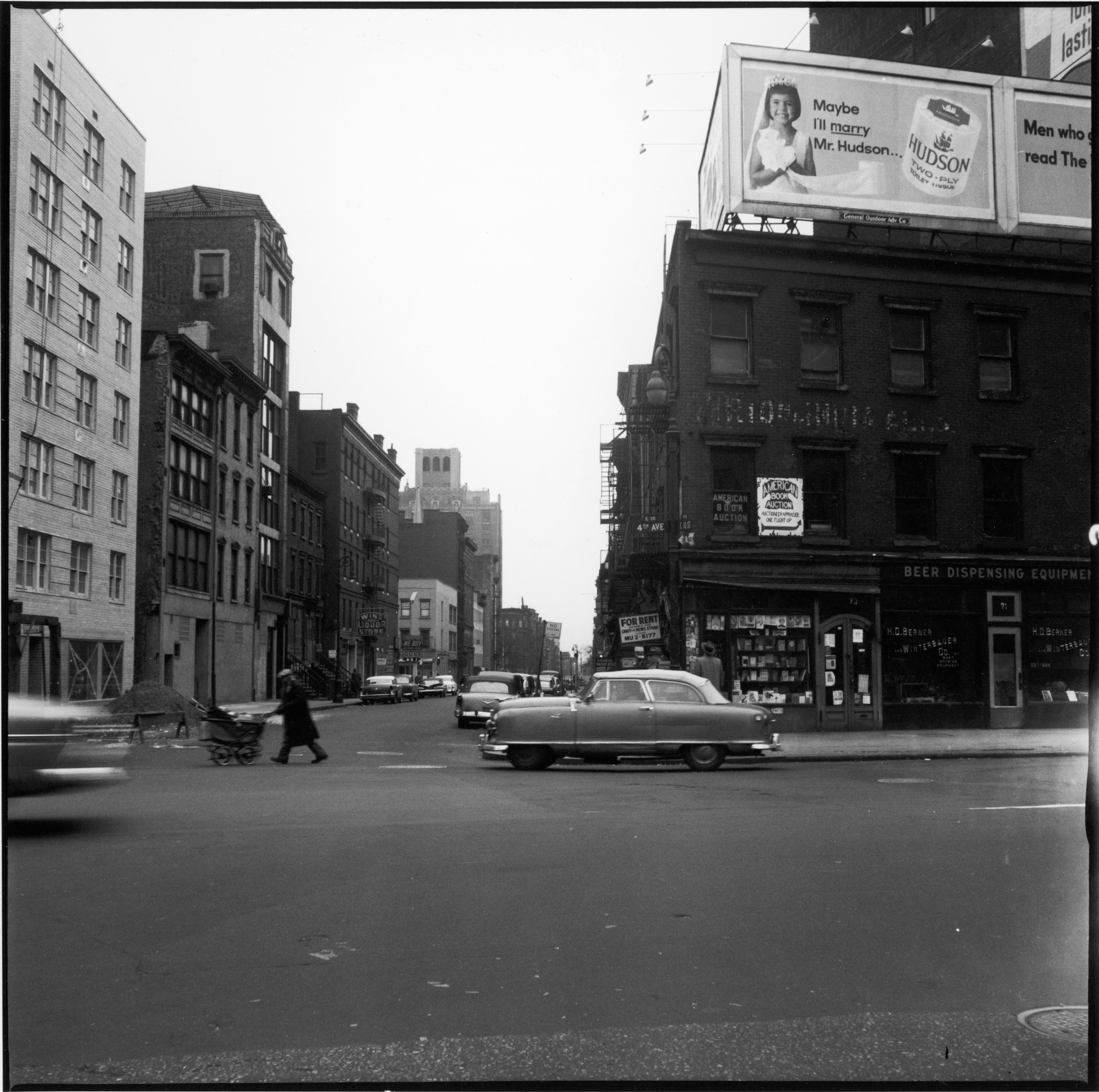 Above: looking east along 10th Street at the intersection of 4th Avenue, January 24, 1959. The corner building at right, 73 4th Ave, was one of the six locations of the Artist's Club, a gathering place for artists, critics, and interested others of all kinds. Below, same view March 2016. Photos © Estate of Fred W. McDarrah.