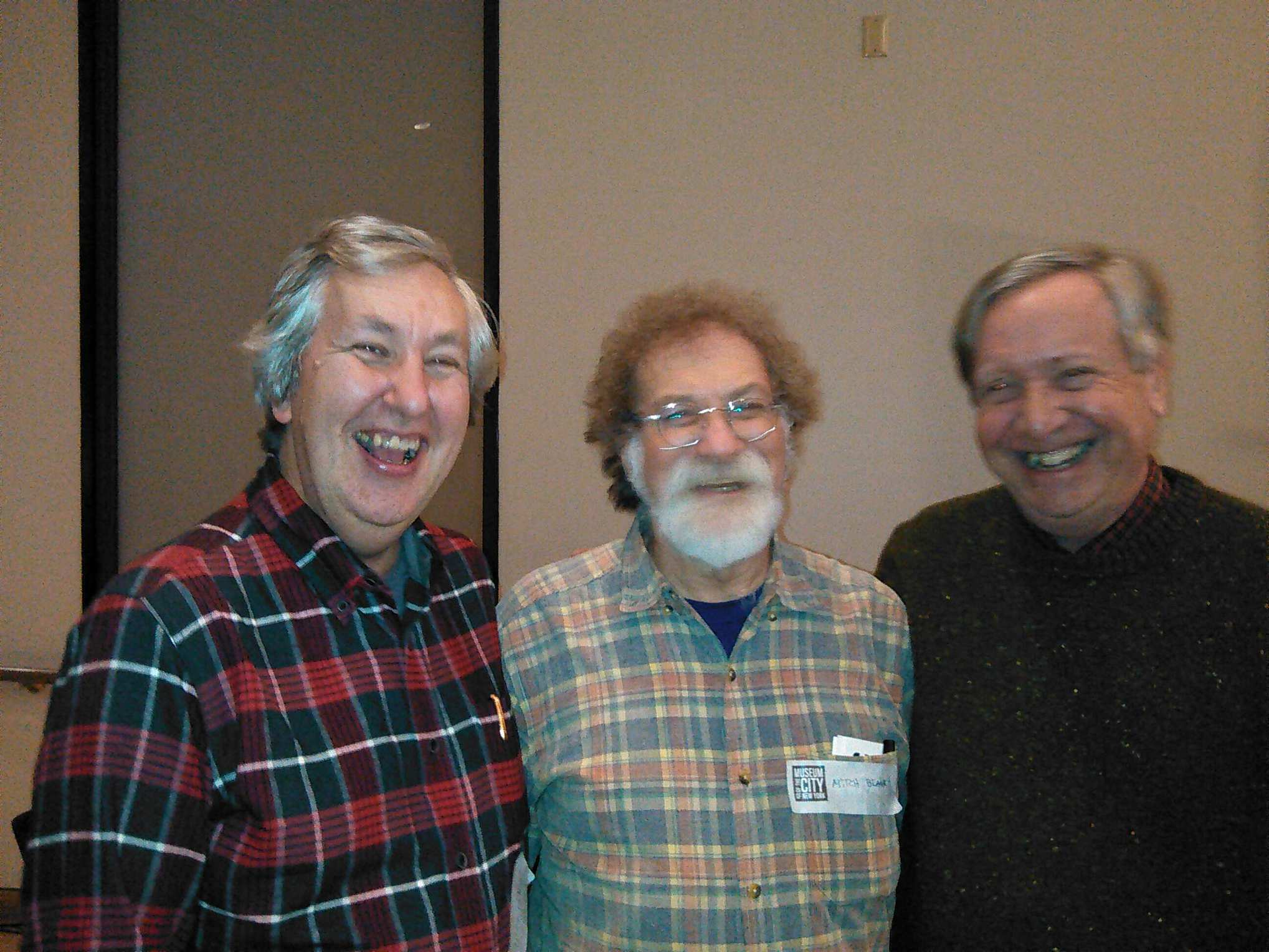 At the same MCNY event: Author Clinton Heylin (L), who wrote the seminal  Dylan Behind the Shades,  Dylan archivist Mitch Blank (C), and Princeton professor and author Sean Wilentz (R). Dylan famously met Beat poet Allen Ginsberg at a party at Wilentz' home in 1963; his father and uncle ran the legendary 8th Street Bookshop