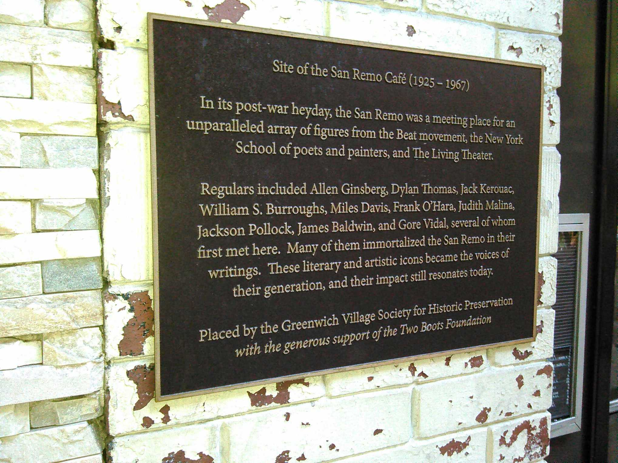 Plaque erected by the Greenwich Village Society for Historic Preservation marking where the San Remo bar once stood. Photo © Estate of Fred W. McDarrah