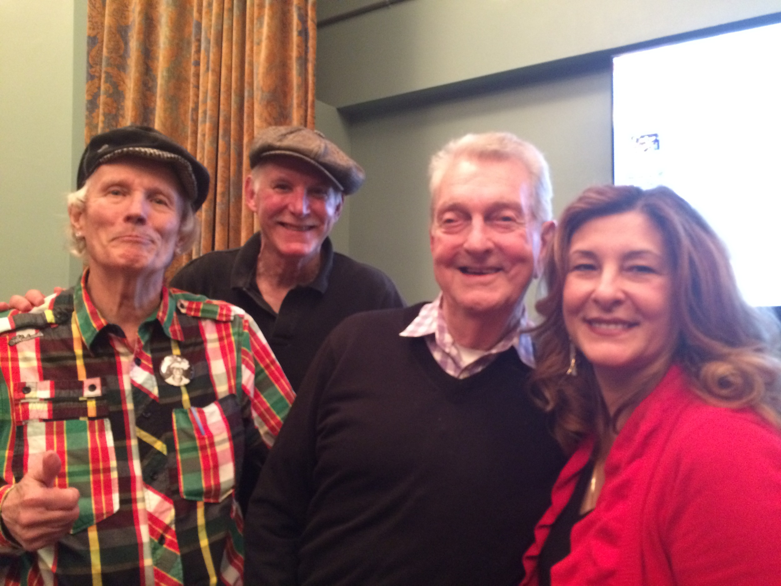 From left,Randy Wicker, Julius' historian Tom Bernardin, Dick Leitsch and Julius' owner Helen Buford,Greenwich Village Society for Historic Preservation panel discussion at Jefferson Market Library, April 12, 2016 - 50 years (minus a few days!) after the Sip In.