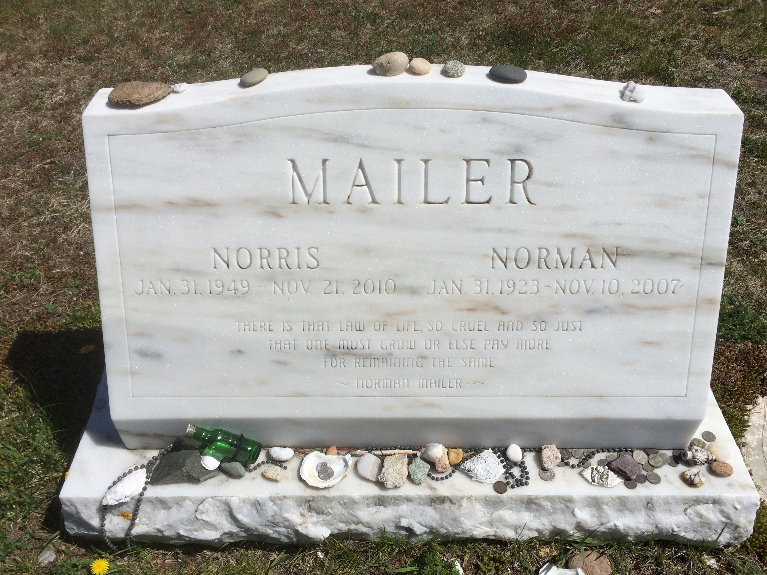 Mailer's gravestone in Provincetown, MA. Photo © Estate of Fred W. McDarrah