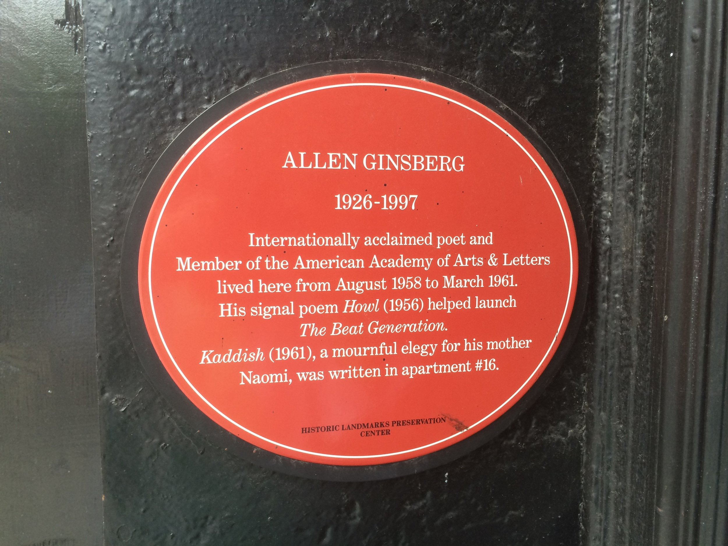 Plaque outside 170 East 2nd St.