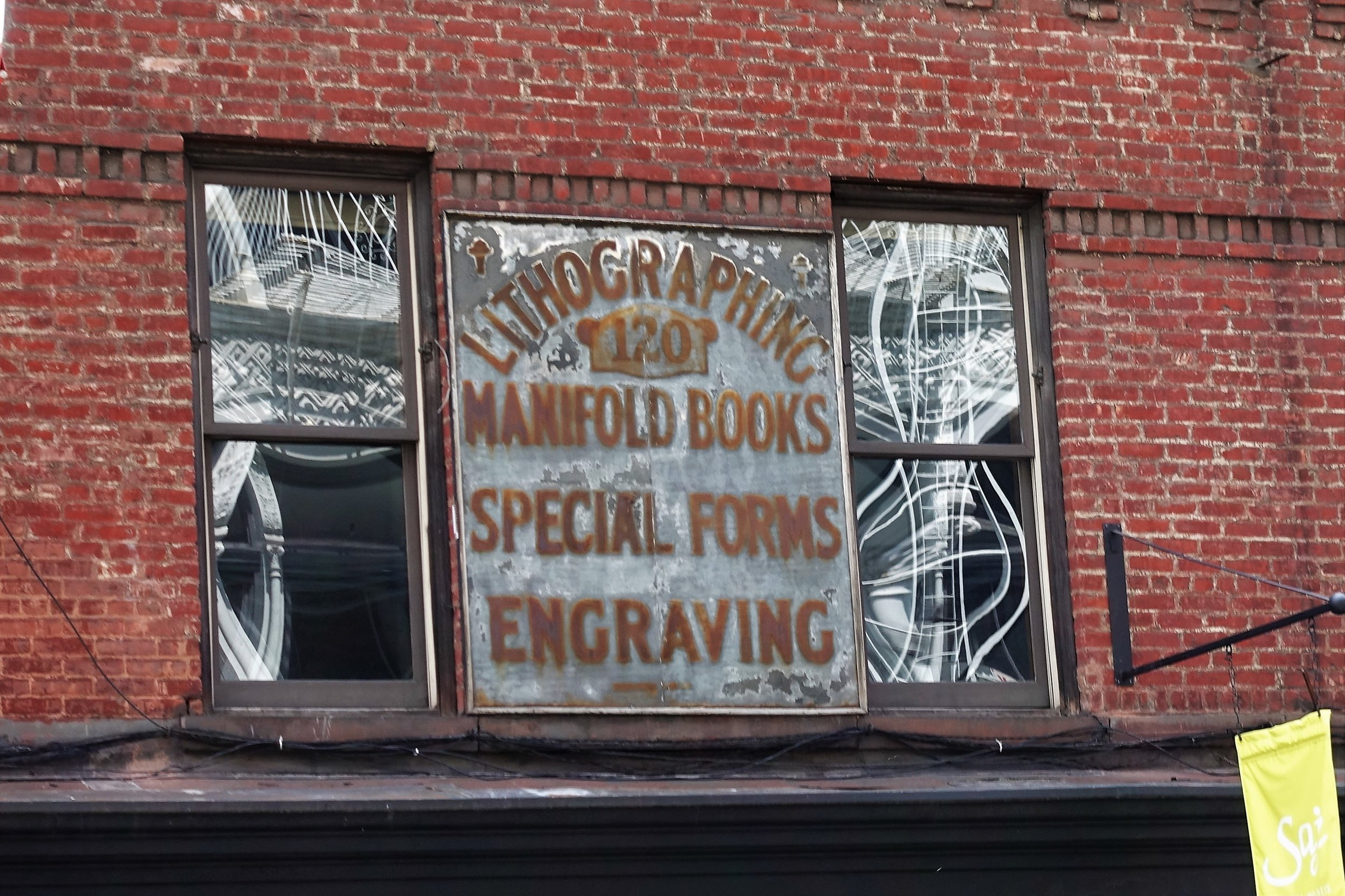 Old sign on Prince Street, taken by tour guest Mark Greenberg, July 17, 2017