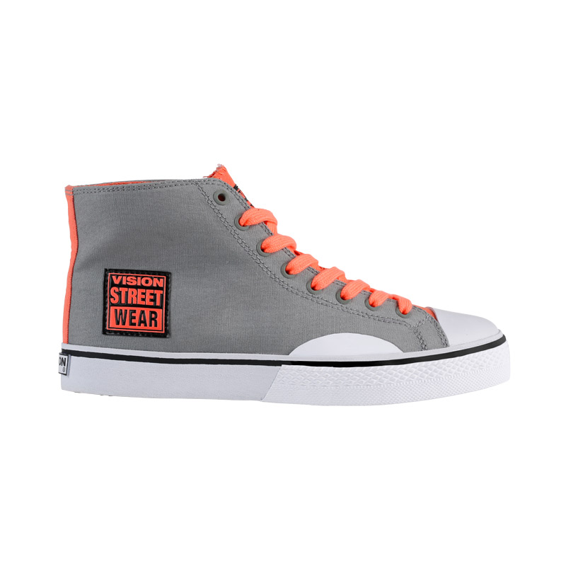 Canvas High // Grey with Neon Coral