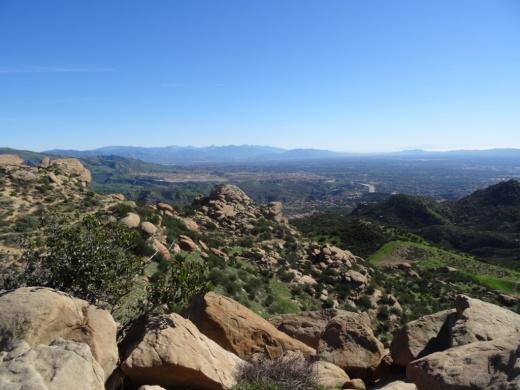 Peering down upon the northwest San Fernando Valley from Rocky Peak.