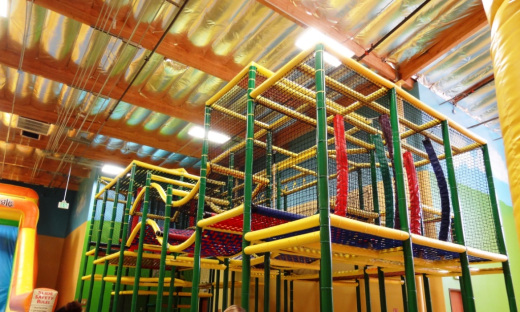The massive climbing play area (this photo does not do it justice...it's huge).