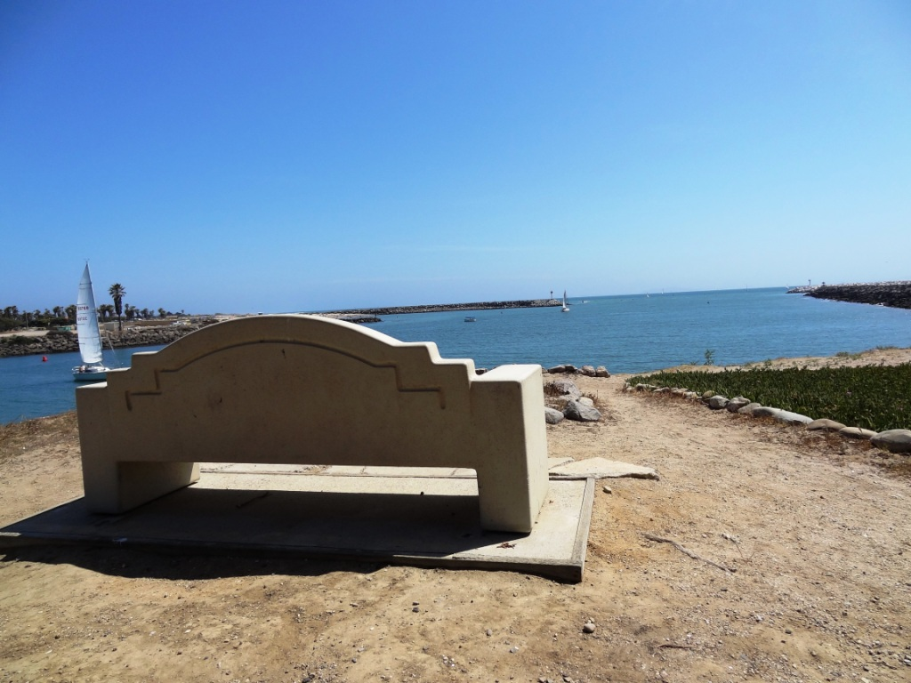 Bench faces south toward Ventura Harbor Village
