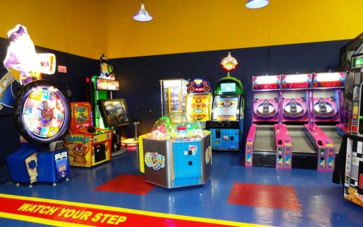 On one side of Sky High is an arcade with skill-based games and on the other side is this kids game area where you earn tickets and cash them in for prizes.