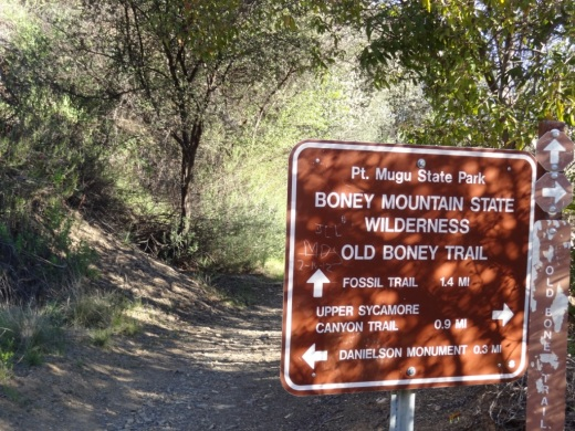 Sign at juncture of Danielson Road trail and Old Boney Trail in Pt. Mugu State Park