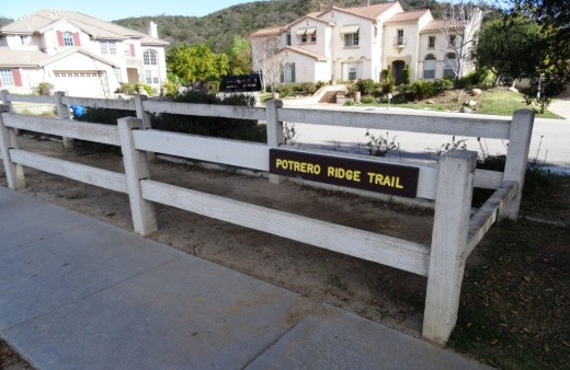 Potrero Ridge Trailhead on Via Las Brisas, just north of Paseo Santa Rosa.