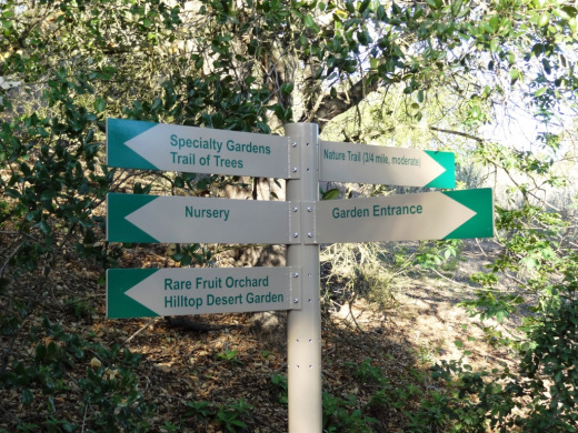 Signs throughout the gardens help visitors find their way around.