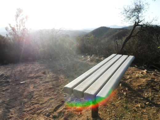 "Bench at the top of ""Space Mountain"" on the Los Robles Trail West."