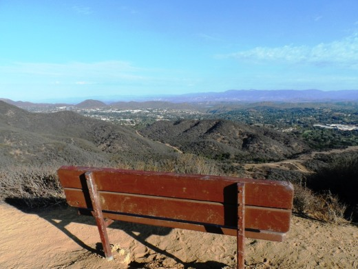 A bench on a hilltop overlooking the Conejo Valley on Los Robles Trail East Scenic Loop.