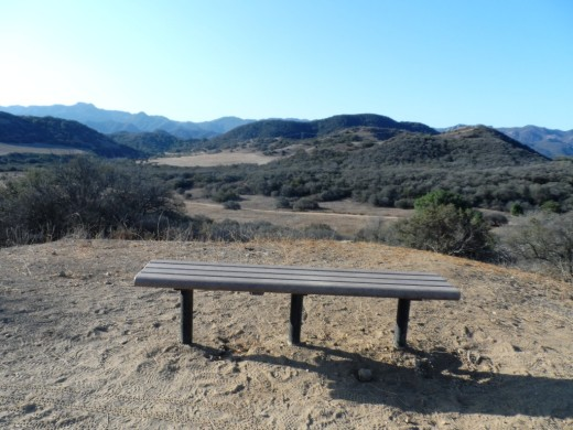 Bench on Los Robles Loop East Scenic Loop looking towards the south.