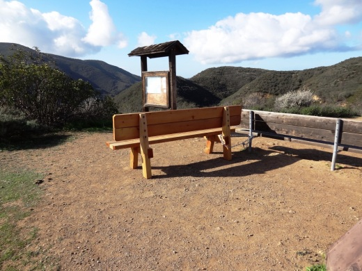 Benches at the top of Big Sycamore Canyon Road in Point Mugu State Park (adjacent to Rancho Sierra Vista/Satwiwa in Newbury Park).