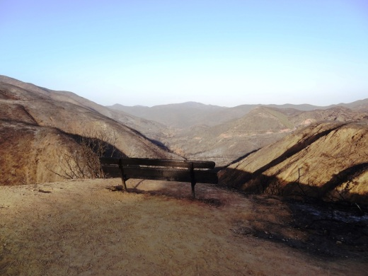 Image of the Upper Sycamore Canyon bench after the Rancho Sierra Vista area in Newbury Park was ravaged by the   Springs Fire of 2013  .