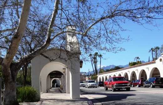 View of the arcade and pergola in front of Libbey Park on Ojai Avenue
