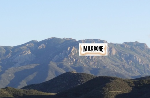 Mock up of Milk Bone Dog Treat logo displayed on face of peak looking towards Newbury Park.