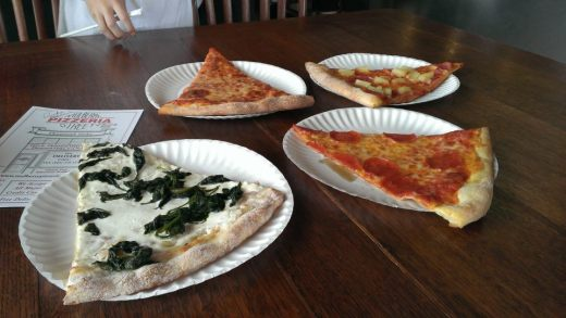 We stopped by Mulberry Street Pizzeria Thousand Oaks and sampled different slices. Delish!