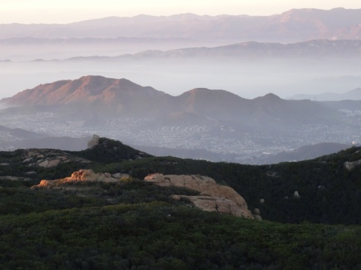 Sunset views from Sandstone Peak toward the Conejo Valley