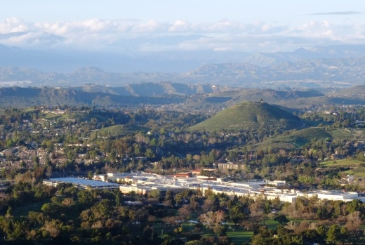 More recent view of Tarantula Hill from the Los Robles Trail East; The Oaks Mall in the foreground.