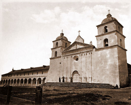 Old Mission Church, Santa Barbara (1876), by Carleton Watkins, via Wikimedia Commons