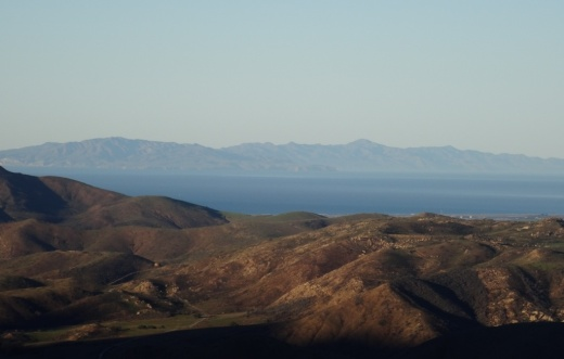 View of   Santa Cruz Island  , one of the Channel Islands, from Hidden Valley Overlook trail