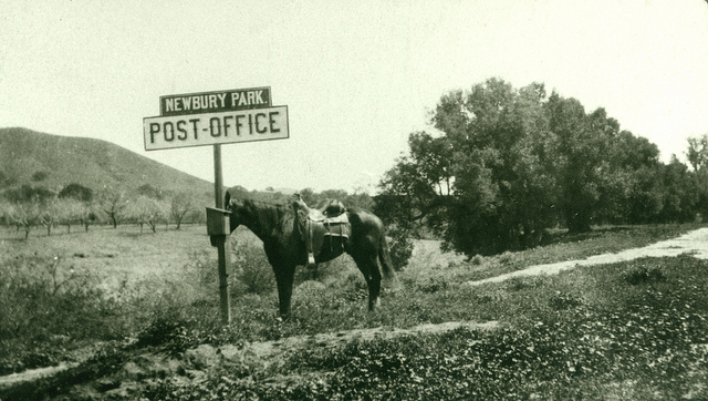 Horse tied to a sign indicating the Newbury Park Post Office, in 1909. The location was near modern-day Lynn Ranch. (Courtesy of the Thousand Oaks Library Local History Photo Collection).