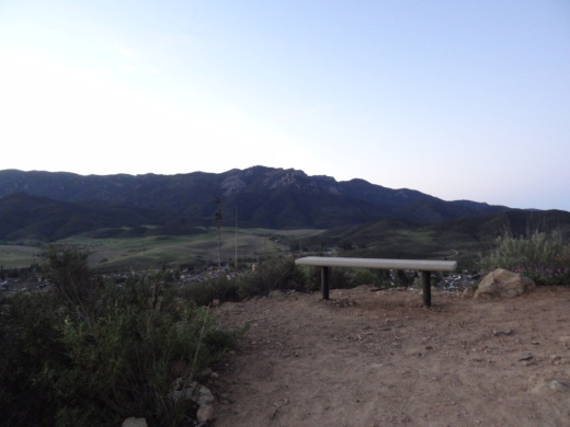 Bench with a view of Boney Peak from the Potrero Ridge Trail in Newbury Park.