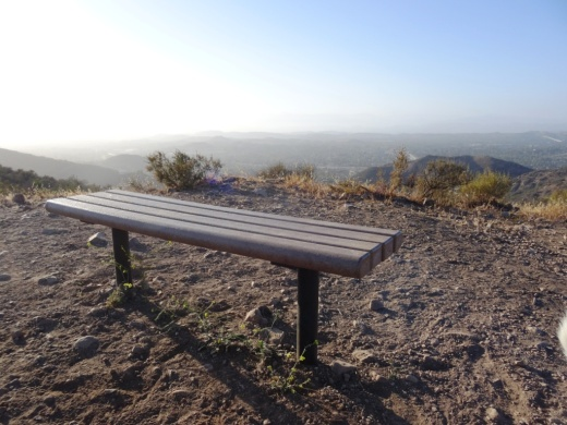 Bench with panoramic views at the top of the Triunfo Canyon Trail (part of the Los Robles trail system) in Westlake Village.