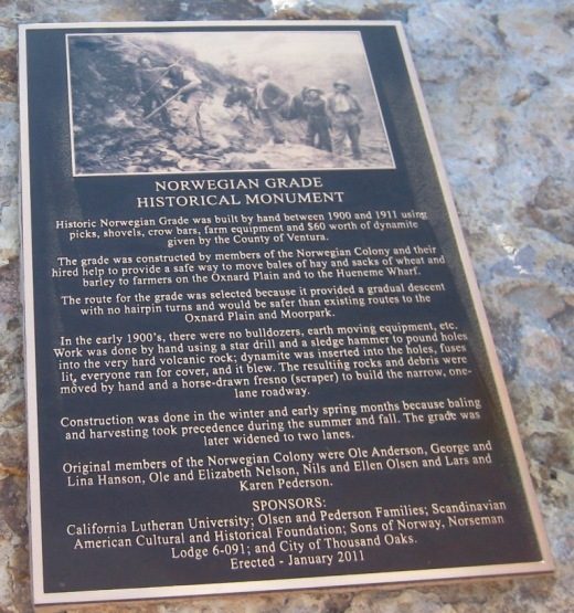 Note from  Conejo Joe : Commemorative plaques are  located at the top and at the bottom of the grade.