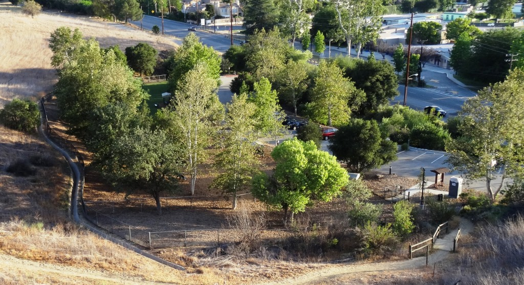 View of the Calabasas Bark Park from the Bark Park Trail.