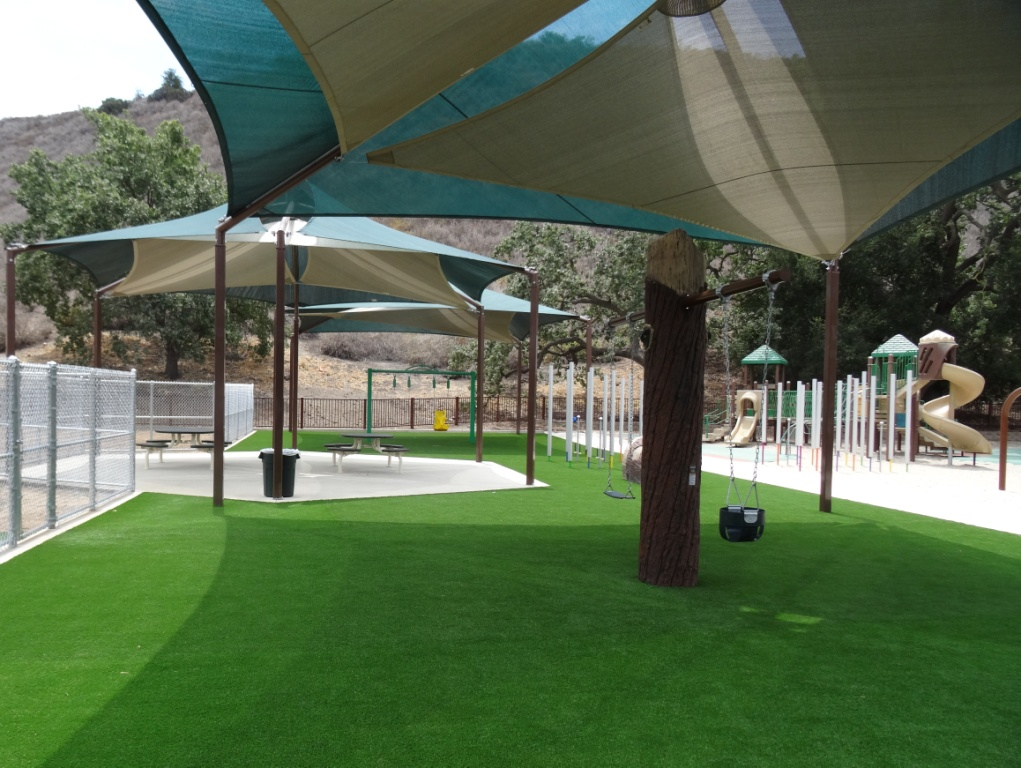 Phase of dreamcatcher playground features gently sloping turf hills and other neat features