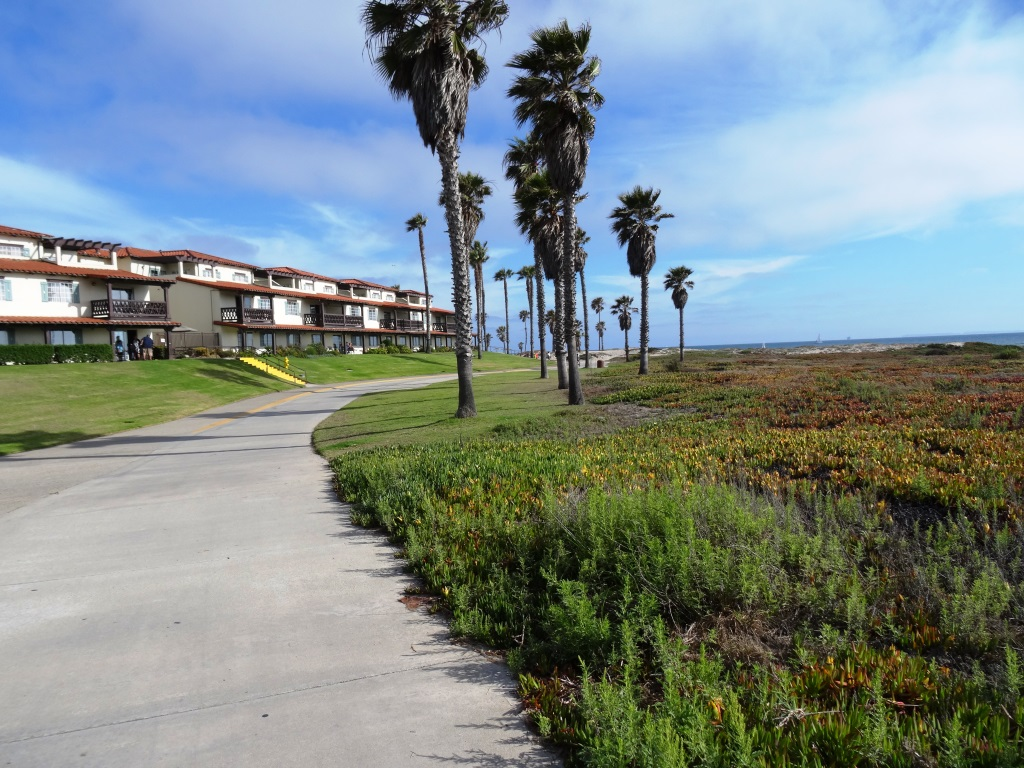 Bike path near Oxnard Beach Park and Channel Islands Harbor.