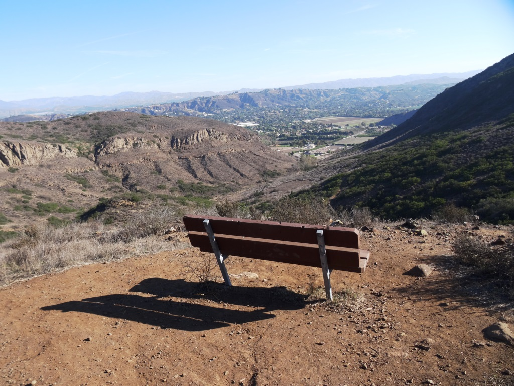 Bench at Box Canyon Overlook in Wildwood Park.